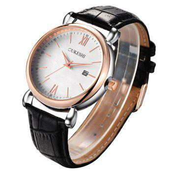 OUKESHI Minimalist Faux Leather Strap Date Watch -  BLACK