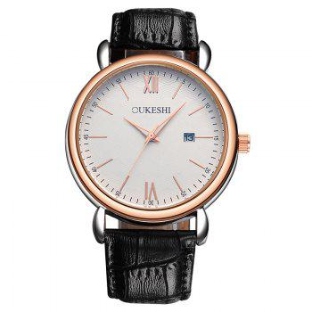 OUKESHI Minimalist Faux Leather Strap Date Watch - BLACK BLACK
