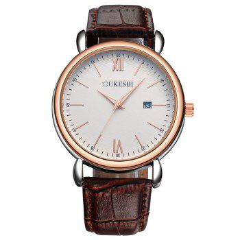 OUKESHI Minimalist Faux Leather Strap Date Watch - BROWN BROWN