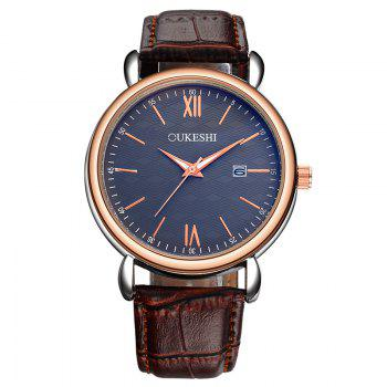 OUKESHI Minimalist Faux Leather Strap Date Watch - BLUE + BROWN BLUE / BROWN