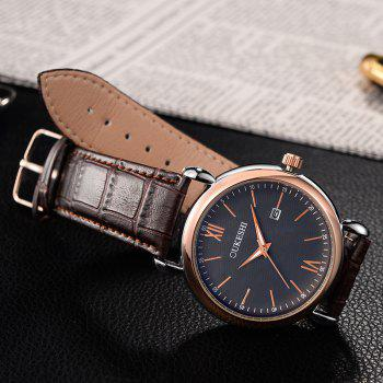 OUKESHI Minimalist Faux Leather Strap Date Watch -  BLUE / BROWN