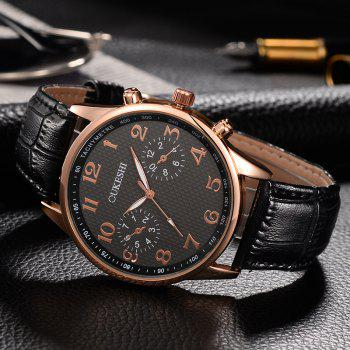 OUKESHI Faux Leather Strap Tachymeter Number Watch - Noir
