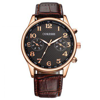 OUKESHI Faux Leather Strap Tachymeter Number Watch - BLACK AND BROWN BLACK/BROWN