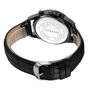 OUKESHI Date Faux Leather Watch - BLACK