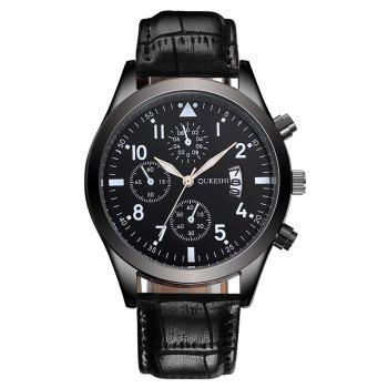 OUKESHI Date Faux Leather Watch - BLACK BLACK