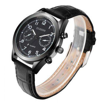 OUKESHI Number Faux Leather Analog Watch - Noir