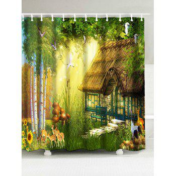 Waterproof Fabric Forest House Shower Curtain