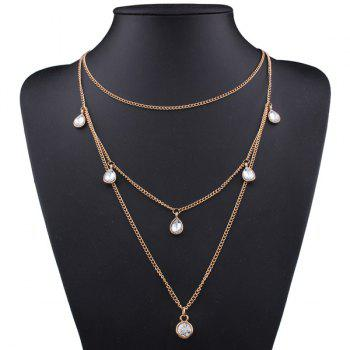 Rhinestone Teardrop Pendant Layered Necklace