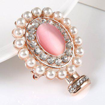 Rhinestoned Faux Pearl Oval Brooch -  GOLDEN