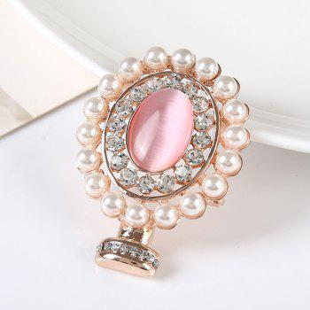 Rhinestoned Faux Pearl Oval Brooch - GOLDEN GOLDEN