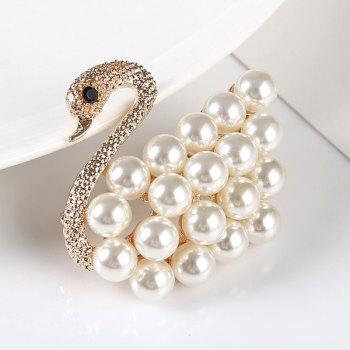 Artificial Pearl Rhinestone Goose Brooch -  GOLDEN