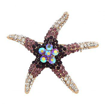 Rhinestone Cute Starfish Brooch -  PURPLE