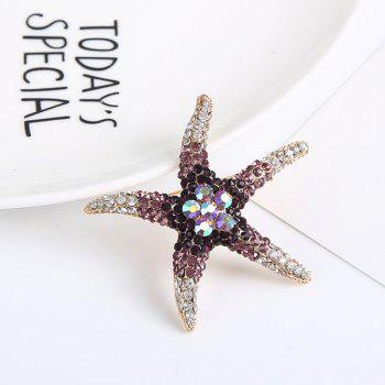 Rhinestone Cute Starfish Brooch - PURPLE PURPLE