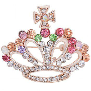 Hollow Out Crown Shape Rhinestone Inlay Brooch