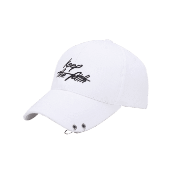 Letters Embroidered Double Alloy Circle Baseball Hat -  WHITE