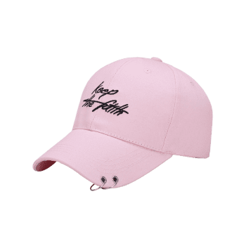 Letters Embroidered Double Alloy Circle Baseball Hat -  PINK
