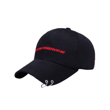 Letters Embroidery Double Circles Baseball Cap -  BLACK