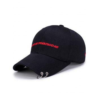Letters Embroidery Double Circles Baseball Cap - BLACK BLACK