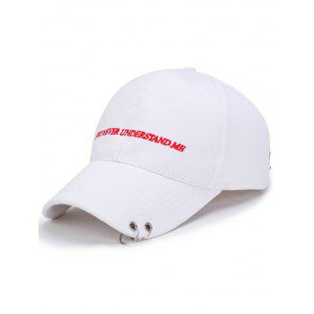 Letters Embroidery Double Circles Baseball Cap - WHITE WHITE