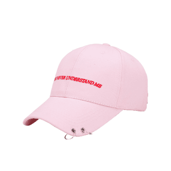 Letters Embroidery Double Circles Baseball Cap -  PINK