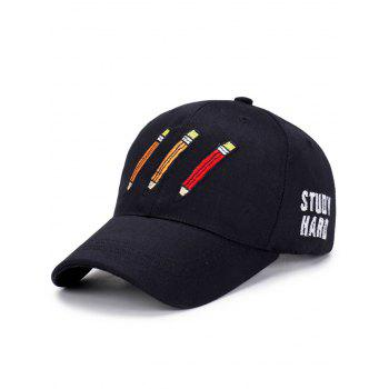 Letters Cartoon Pencil Embellished Baseball Hat - BLACK BLACK