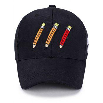 Letters Cartoon Pencil Embellished Baseball Hat -  BLACK