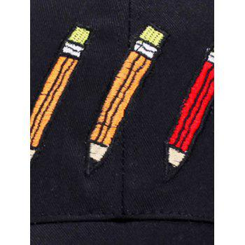 Letters Cartoon Pencil Embellished Baseball Hat -  SHALLOW PINK