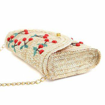 Straw Fruit Embroidered Crossbody Bag -  RED