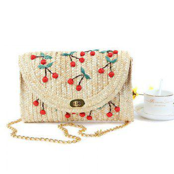 Straw Fruit Embroidered Crossbody Bag - RED RED