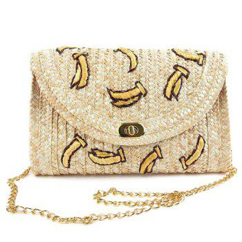 Straw Fruit Embroidered Crossbody Bag