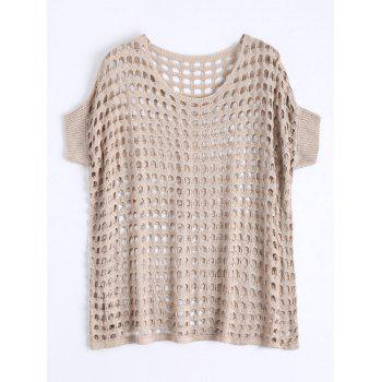Plus Size See Through Crochet Knit Top