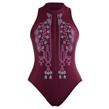 Zipper Fly Embroidered Plus Size Swimsuit