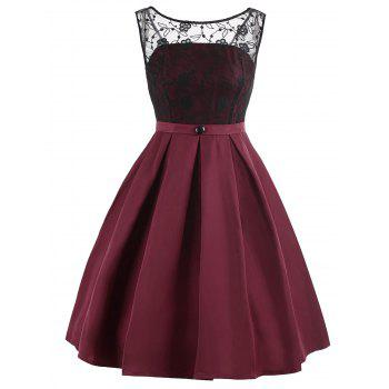 Retro Lace Panel Fit and Flare Dress