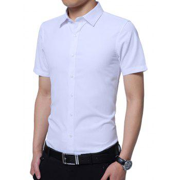 Turndown Collar Short Sleeve Plain Shirt