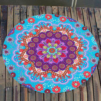Boho Floral Printing Round Beach Throw - Cyan