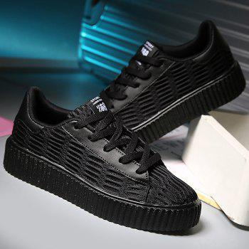 Lace Up Breathable Mesh Athletic Shoes - BLACK 37