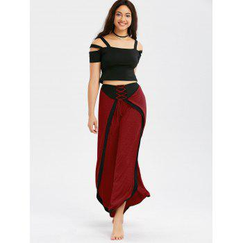Lace Up High Slit Palazzo Pants - DEEP RED M
