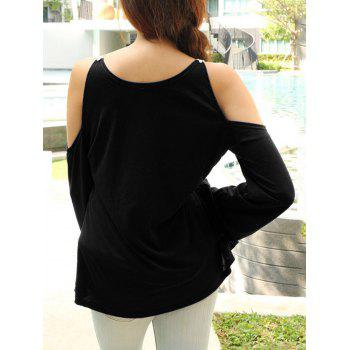 Cold Shoulder Color Block Lace Splicing T-Shirt - BLACK L
