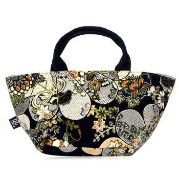Ethnic Printed Linen Tote Bag -  BLACK