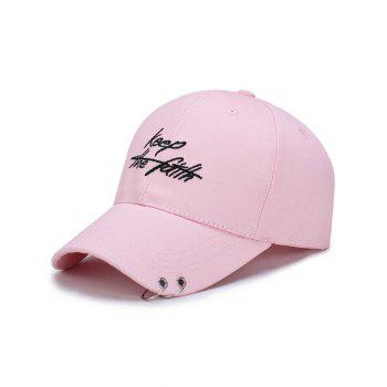 Letters Embroidered Double Alloy Circle Baseball Hat - PINK PINK