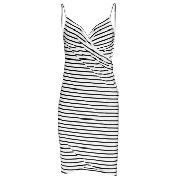 Striped Open Back Multiway Wrap Cover-ups Dress - WHITE 2XL