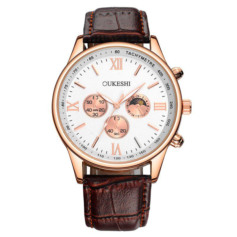 OUKESHI Faux Leather Band Quartz Tachymeter Watch - Brun