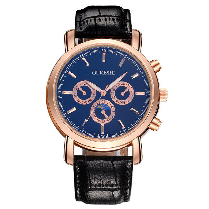 OUKESHI Number Faux Leather Strap Watch - BLUE/BLACK