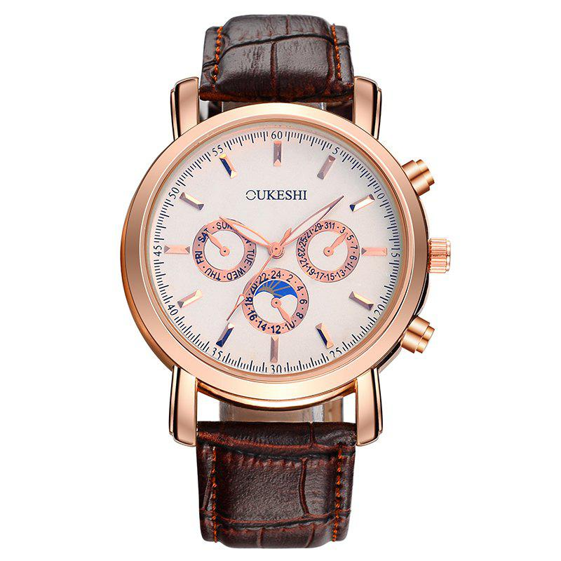 OUKESHI Number Faux Leather Strap Watch - Brun