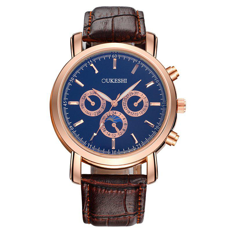 OUKESHI Number Faux Leather Strap Watch - Bleu / Brun