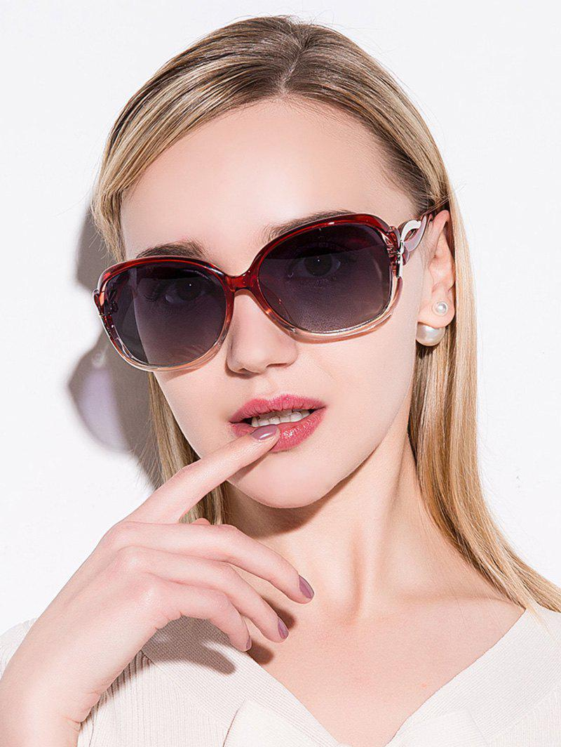 Hollow Cut Anti UV Reflective Sunglasses - TEA COLORED