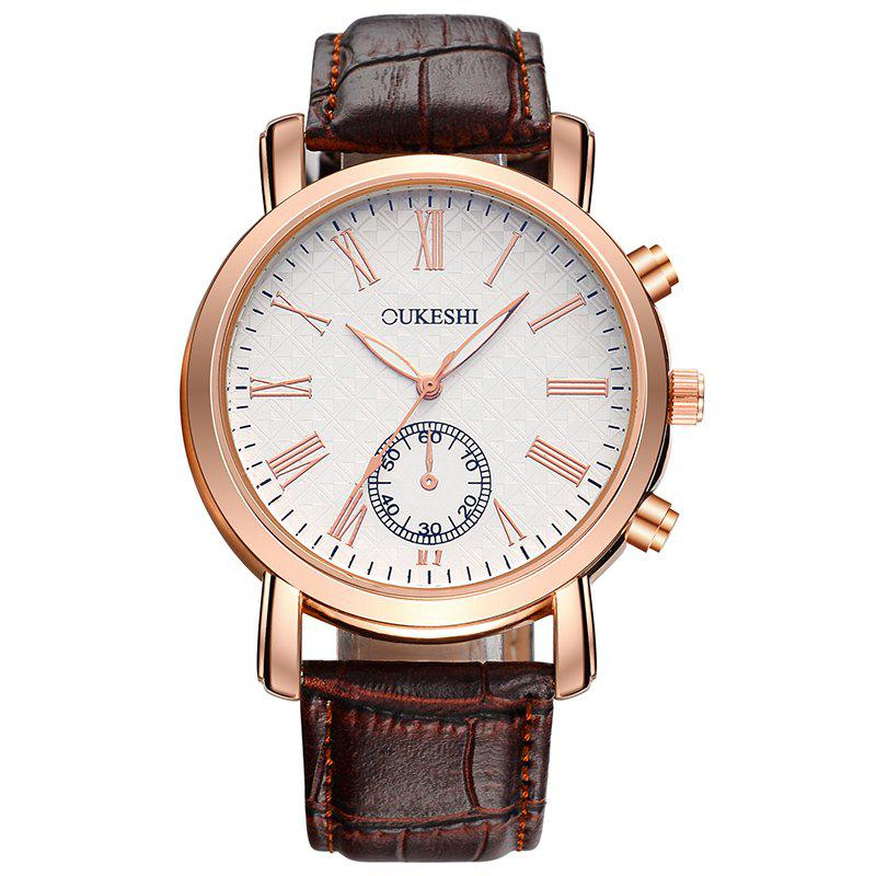 OUKESHI Faux Leather Roman Numeral Formal Watch - BROWN