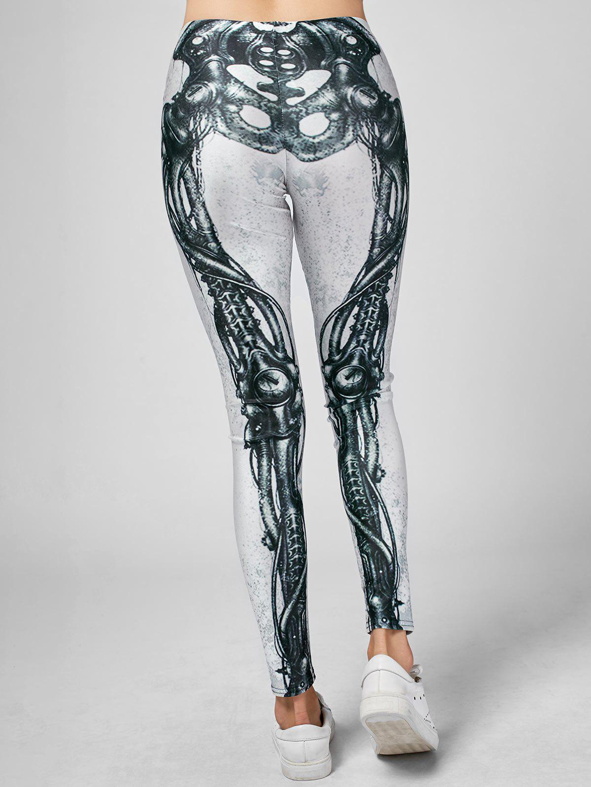 Skeleton Print High Waist Skinny Leggings - BLACK / WHITE S