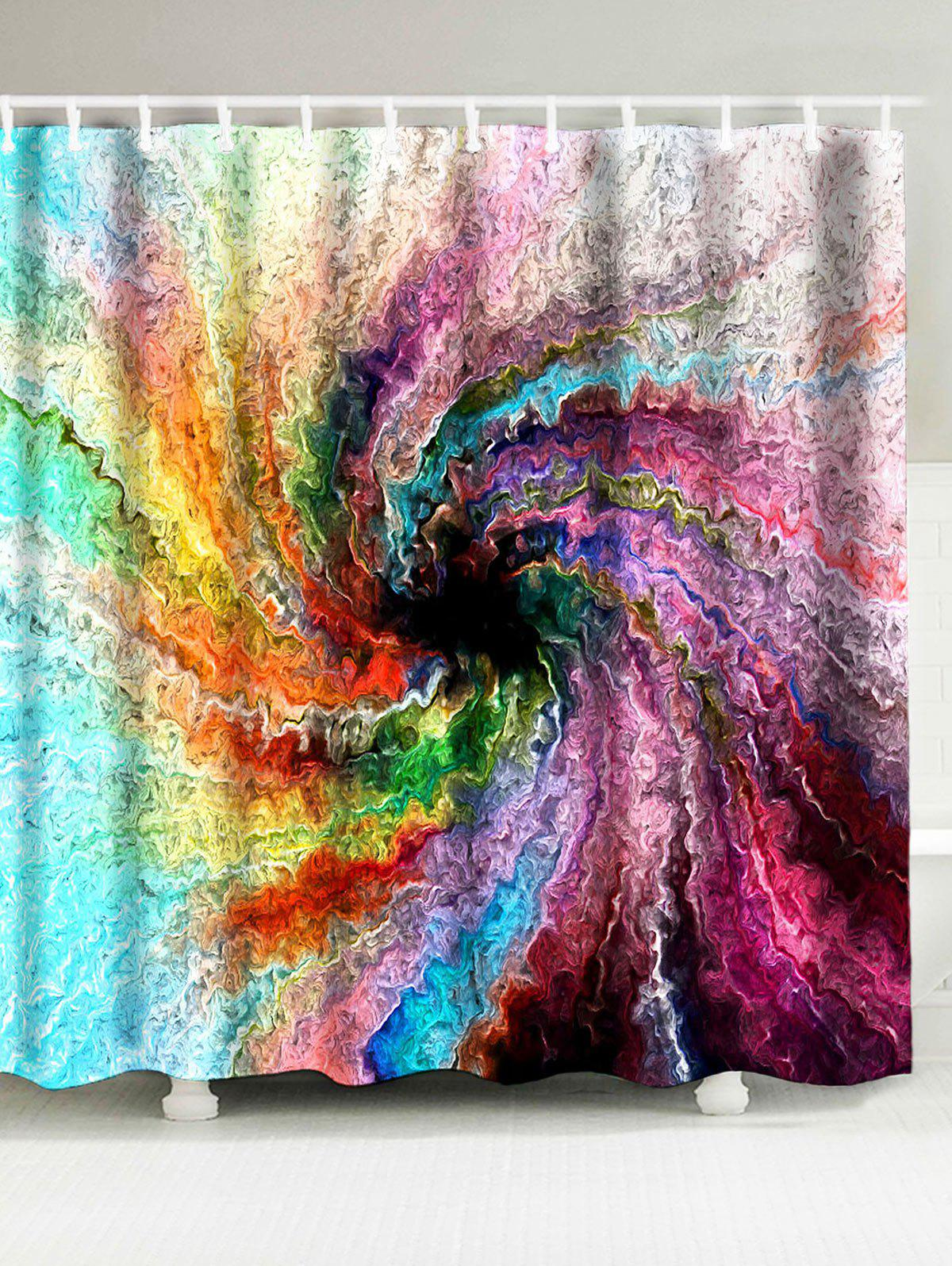 Waterproof Psychedelic Vortex Print Shower Curtain natural landscape waterfall print waterproof shower curtain