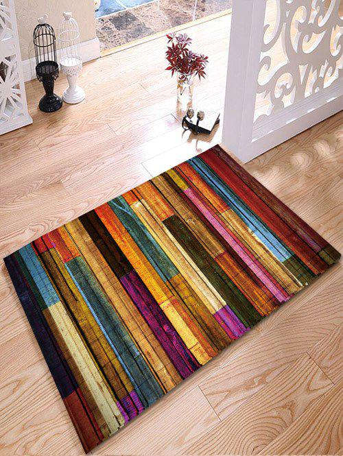 Colorful Stripes Wood Grain Flannel Bath Rug colorful stripes wood grain flannel area rug
